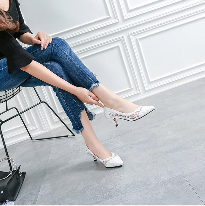 8cm Lace High Heels Leather Shoes,Shoe lace styles,White Lace Up Bridal Heels