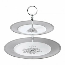 Wedgwood Winter White Cake Stand Two-Tier Cake Plate Christmas New # 400... - $156.42