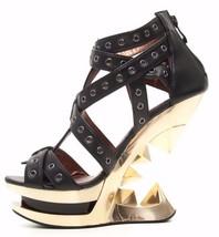 Hades TAUNT Black Strappy Sandals Gold Iceberg Pyramid Wedge Heels Eyele... - $144.00