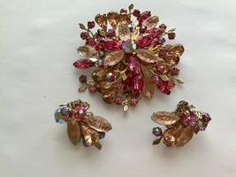 Light Pink Molded Glass Dark Rose AB Rhinestone Pink Navettes Brooch Ear... - $24.70