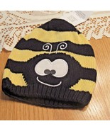 knit cap yellow black bumblebee infant one size 100% cotton - $11.87