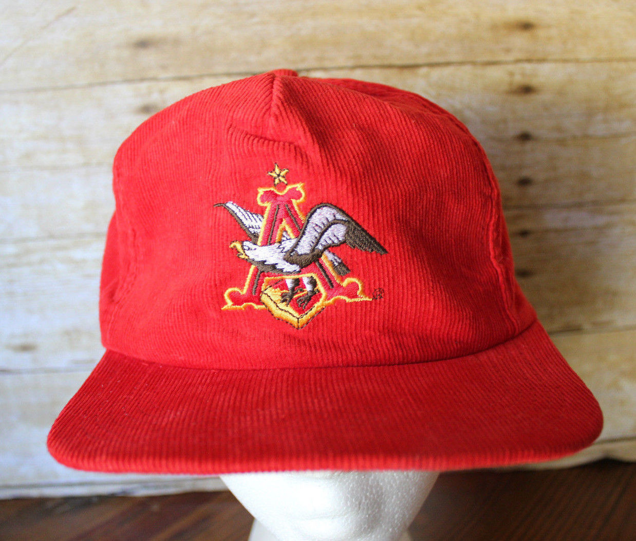 ca813319885 S l1600. S l1600. Previous. Vintage 80s Anheuser-Busch BUDWEISER Red  Corduroy Promo Cap Trucker Hat NOS · Vintage 80s ...