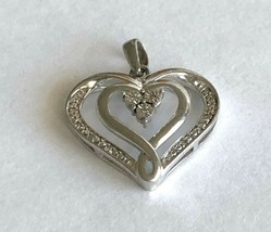 Diamonds Sterling Sliver 925 Double Open Hearts Pendant Signed N - €27,52 EUR