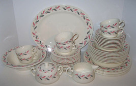 45 Pieces Homer Laughlin China Dinnerware Bermuda Mayberry Pink Grey Lea... - $104.72