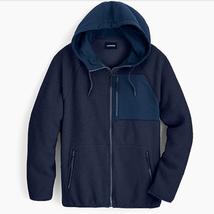 NWT $148 Mens J Crew Sherpa Zip Front Hooded Fleece Jacket in Navy Blue sz XXL - $88.11