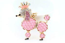 Pink Poodle Dog Puppy Cute Animal Keychain Rhinestone Crystal #MCK11 - $18.17