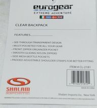 Shalam Imports Brand Eurogear Extreme Adventure Clear Backpack Black image 5