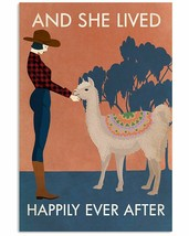 Lived Happily With Llama Poster, For Livingroom, Bedroom, Gift For Farmer - $21.75+