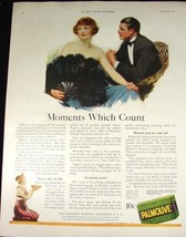 1922 PALMOLIVE SOAP LADY WITH LARGE FEATHER FAN & MAN IN TUXEDO PRINT AD - $9.99