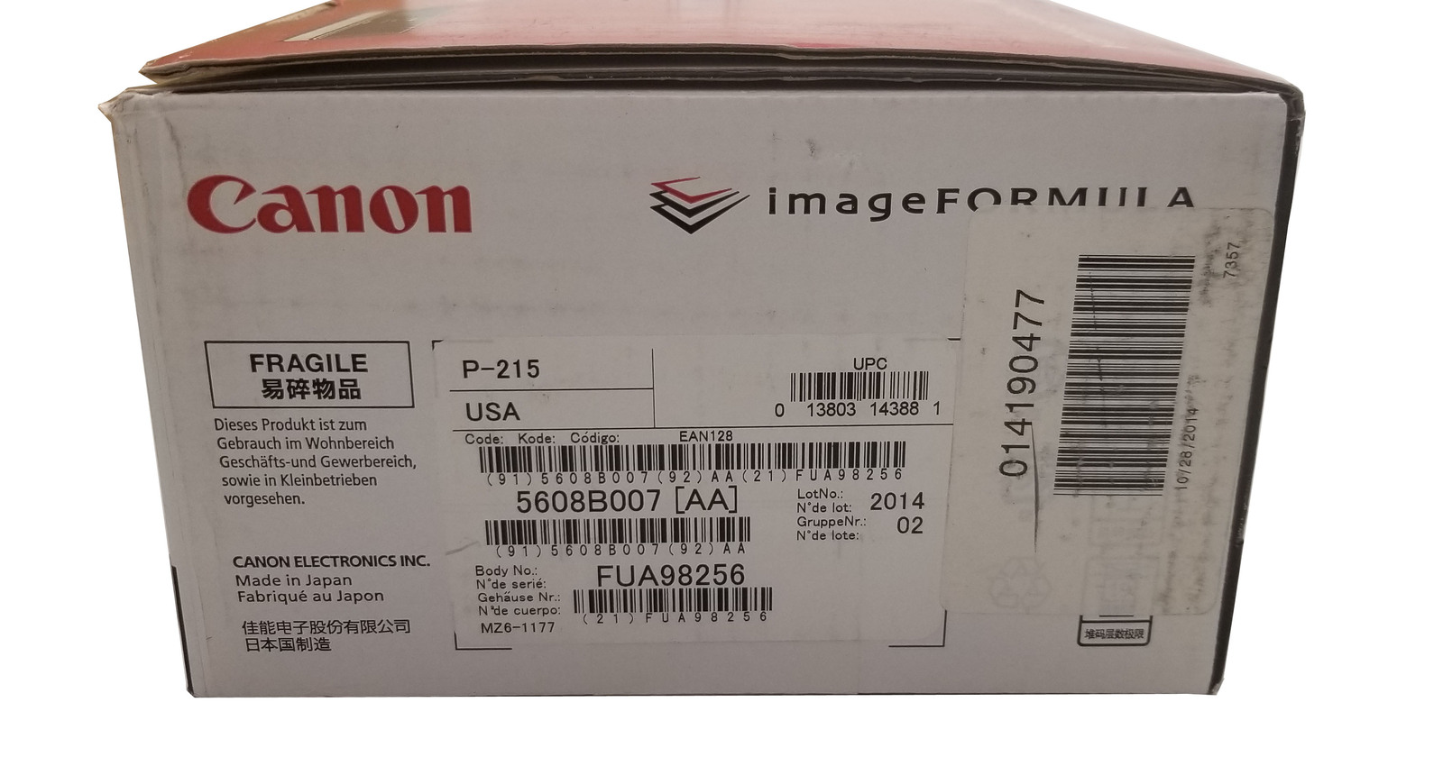 Canon P-215 Color Duplex USB Powered Sheetfed Scanner Bin: 9