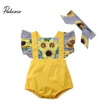 baby Sunflower Rompers 2018 baby girl summer clothes floral print backle... - $9.99