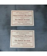 Pair 1907 Tickets Exhibition of Paintings William Ladd Taylor Boston Art... - $13.09