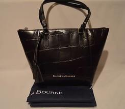 Dooney & Bourke Maxine Zip Top Tote Bag Espresso Black Leather Embossed ... - $193.05