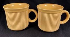 """2 CERIND Porcelana Vitro Portugal Yellow Ribbed Cups 12 Ounces 3 5/8"""" Di... - $19.79"""