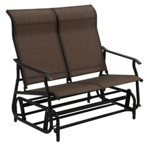 Dark Brown 2 Person Patio Glider Sofa Bench Seating Deck Porch Outdoor F... - $138.10