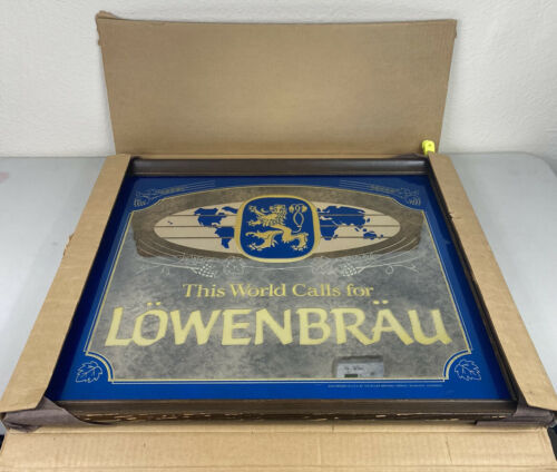 "Primary image for Lowenbrau Beer Wood Framed Beer Mirror Bar Sign 26""x22"" NEW NOS Vintage RARE"