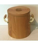 Vintage Wooden Ice Bucket Solid Oak Wood Goldtone Handles Lid and Plasti... - $49.99