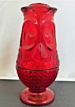 Vintage Viking Glass Co. Ruby Red Glass Owl Fairy Glimmer Candle Lamp Light - $49.49