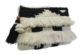 Sondra Roberts Black & White  Double Fringe Nubby Knit Zipper Clutch - $58.41