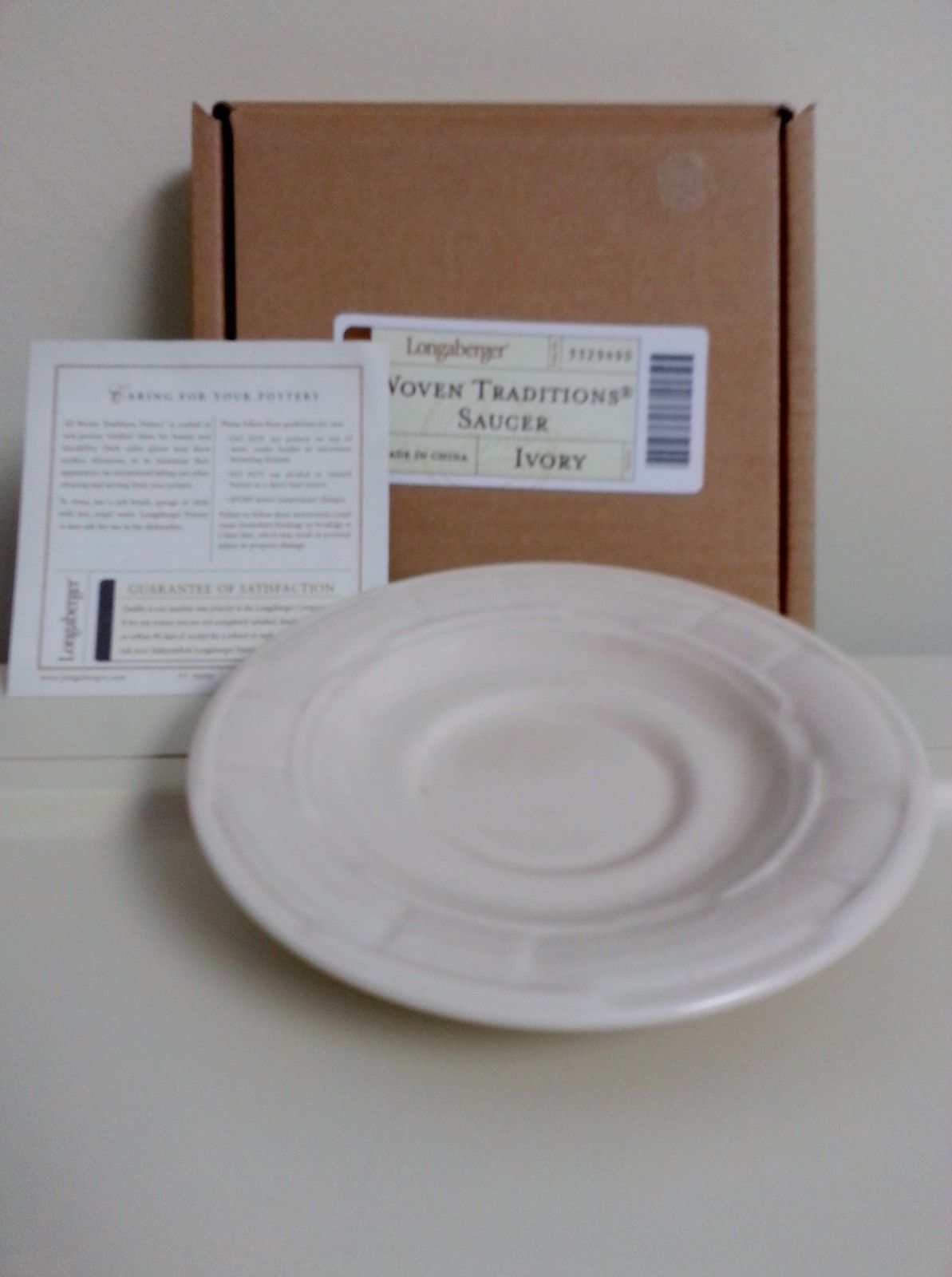 Primary image for Longaberger Pottery Ivory Saucer Snack Plate Set of 4 New In Boxes