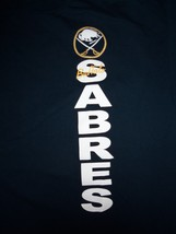NHL Buffalo Sabres Hockey Team Logo Black Graphic Print T Shirt L - $17.76