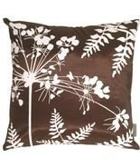 Pillow Decor - Brown with White Spring Flower and Ferns Pillow 20x20 - $29.95