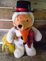"Disney Store SNOWMAN Winnie The Pooh 13"" Plush Stuffed Animal Toy Bear - $11.87"