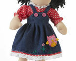 "Adorable Apple Dumplin' Cloth 14"" Doll by Delton - Denim Owl Jumper"