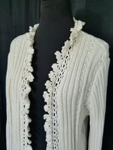 Vintage 1970s Knit Crochet Long Sweater Coat Cream Crochet Trim Size M/L... - $38.99