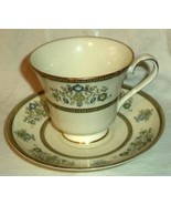 Minton Cup & Saucer Henley S749  Green Gold  White Made in England - $18.99
