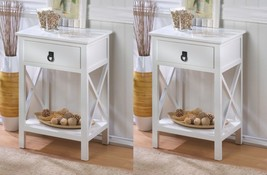 Set of 2 Hampton Glossy White Accent, End Table Night Stands w/ Drawer and Shelf - $235.66
