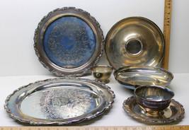 6 pc Mixed Lot Oneida Royal Provincial Silverplate Trays Bowls Cups + Sheridan   - $56.09