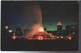 Buckingham Fountain at Night Chicago Illinois IL Postcard Chrome Colourpicture - $3.34