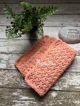 Handmade Kitchen Dish Cloths Peach Coral Crochet Cotton Dishcloth Set of 3 - $18.75