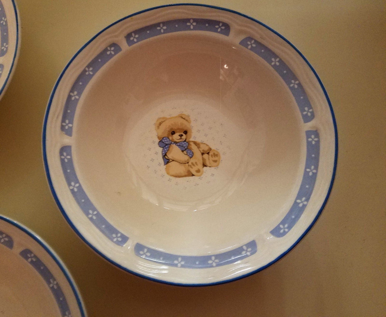 "3 Tienshan Theodore Country Bear Stoneware Ice Cream / Salad / Cereal Bowls, 7"""