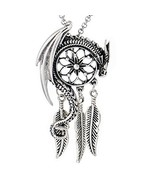 Paw Paw House Dragon Dream Catcher Pendant Necklace Norse Viking Snake O... - $13.24