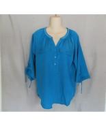 New York & Co top peasant Medium blue embellished 3/4 raglan tie sleeves - $11.71