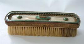 Vintage Green Guilloche Enamel Pearl Celluloid Clothes Brush Edwardian Deco - $29.69