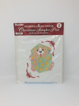 Vtg 1995 Bucilla Christmas Sampler Pair Of Stamped Cross Stitch Cat Dog - $12.30