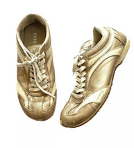 Diesel Baffin Gold Leather Sneakers Women 7 Metallic Athletic Shoes - $29.69