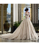 Vintage Ball Gowns Wedding Dress Lace Long Sleeve Beading - $599.00