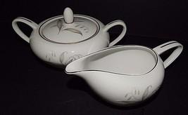 Kaysons China Japan Golden Rhapsody Creamer & Sugar Bowl White Gold 1961 - $34.64