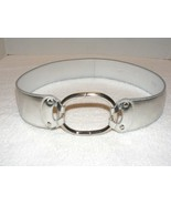 PRADA SILVER LEATHER BELT WITH ITALIAN CIRCLE RING BUCKLE GUC - $199.99