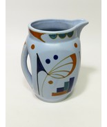 Hand Painted in Japan Pottery Blue Pitcher Art Deco Modernist design - $34.65