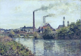 The Factory at Pontoise, 1873 - 24x32 inch Canvas Wall Art Home Decor - $51.99