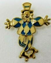 Vintage Brooch Blue White Carnival Clown on Roller Skates Pin - $17.77