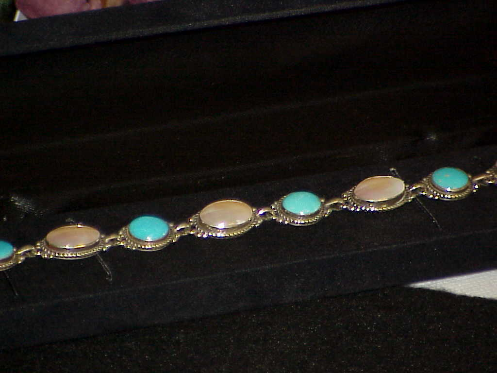 QVC CAROLYN POLLACK RELIOS Sterling Turquoise Mabe' Pearl Bracelet Toggle Motto