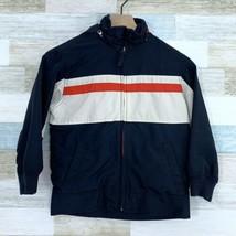 GAP Kids Rain Jacket Coat Windbreaker Hooded Blue White Red Youth Size S... - $22.76