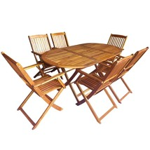 vidaXL Outdoor Dining Set 7 Piece Folding Solid Eucalyptus Wood Garden P... - $335.99