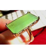STERLING 925 RING 7.25 GREEN chalcedony silver long NATURAL EMERALD CUT ... - $54.99